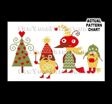 Christmas Birds Cross Stitch Cross
