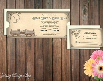 Wedding Invitation - Vintage Ticket with Train Sketch - Invitation and RSVP Card with Envelopes