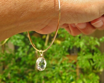 10k Gold Bangle Bracelet with Gold Wrapped Crystal Charm Hand Forged & Custom Made in Your Size