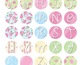 Shabby Chic Alphabet 16mm images collage