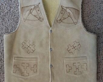 Vintage 70's Leather Branded Horse Equestrain Shearling Vest