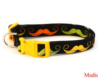 Mustache Dog Collar - Dapper Dog Bright Mustaches - Mini Small Medium Large XL Dog Collar