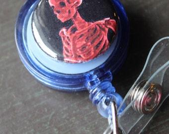 Blood Red Skeleton X-RAY Sugar Skull Badge Holder Retractable Badge Holder