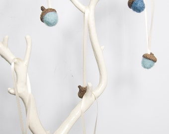 Small Needle Felted Acorn Ornaments in Blues - Set of 6