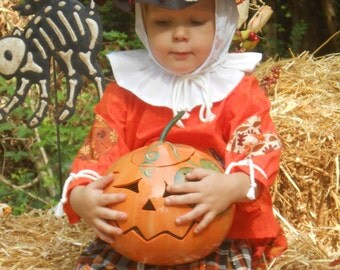 "C141   Ready To Ship in 1 Week   Adorable ""Pumpkin""  Scarecrow Halloween Costume  Toddler 4"