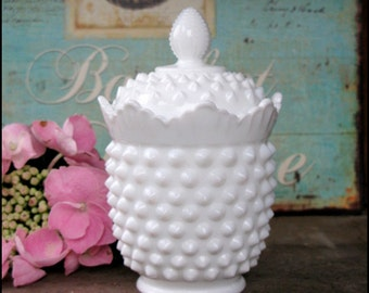 Vintage Fenton Hobnail Milk Glass Covered Jar/Crown Pattern