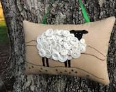 Ireland Sheep Primitive Embroidery Pillow, OOAK Original Design Door Hanger Decor, Vintage Buttons