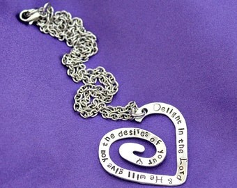 Delight in the Lord scripture hand stamped heart necklace