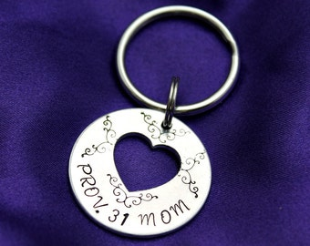Prov 31 Mom heart cut out scripture hand stamped keychain