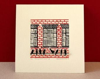 Linoleum print of city birds - original wall art - home decor print - red and black