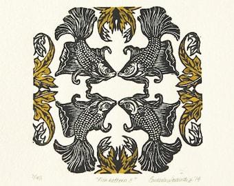 Linocut print of fish - fish pattern design - original artwork - home decor - special gift
