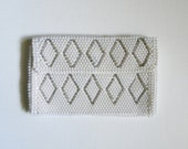 Vintage White Beaded Clutch - Diamond Design - Made in Japan