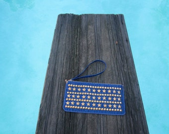 Blue Going Overboard wristlet  Stud and leather embossed croc