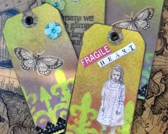Four Victorian Tags, Altered Art Tags, Grunge Tags, Mixed Media Tags, Shipping Tag Art, Goth Tags