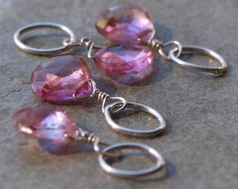 Pink Topaz Charm Pendant or Earring Charms #50