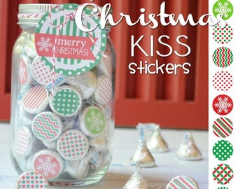 CHRISTMAS Chocolate KISS Mason Jar Gift Set with Tag & Topper, Printable Kiss Stickers - Instant Download