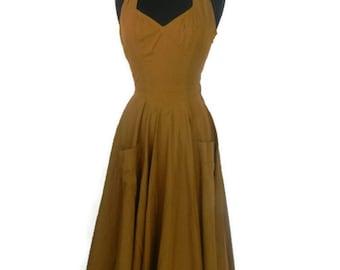 Vintage Tan Halter Full Skirt Dress