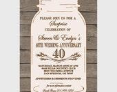 Mason Jar Wedding/Anniversary Invitation- CUSTOM to any COLOR scheme (digital file)
