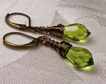 Lime Green Teardrop Crystal Wire Wrap Victorian Earrings, Antique Bronze Filigree Titanic Temptations Vintage Steampunk Bridal Style Jewelry