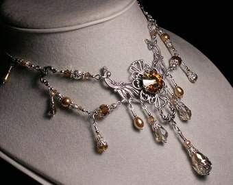 Champagne Gold Silver Victorian Choker, Colorado Topaz Crystal Edwardian Bridal Necklace Antique Silver Filigree Titanic Temptations Jewelry