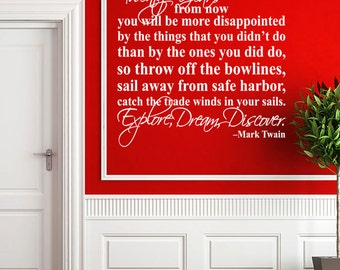 Explore Dream Discover Mark Twain Quote - Vinyl Wall Decal Sticker Art