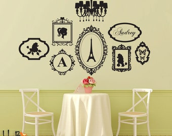 French Theme frame decals personalized name set - chandelier and poodles girls room nursery wall stickers
