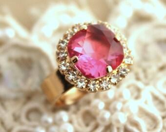 Gold Pink Swarovski Rhinestone adjustable ring, Pink Ring, Cocktail Ring,   thick plated gold adjustable ring real Swarovski rhinestones.