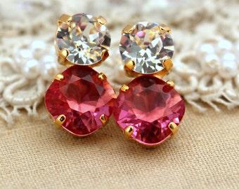 Pink Earrings,Swarovski Pink Stud Earrings,Pink Tourmaline Earrings,Gift for her,Bridal Crystal Pink Earrings,Bridesmaids Pink Earrings