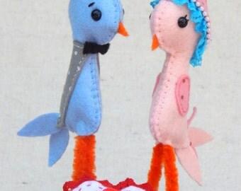 Love Birds Felt Art Doll