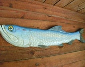 "Tarpon 48"" chainsaw wood carving sportfish trophy fish indoor outdoor home decor saltwater man cave wall mount art original Todd Lynd"
