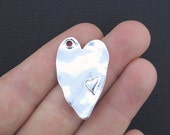 3 Heart Charms Antique Silver Tone Beautiful Large Size- SC3364