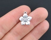 BULK 30 Flower Charms Antique Silver Tone Classic and Elegant - SC358