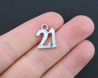10 Number 21 Charms Antique Silver Tone Larger Size - SC2287