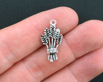 5 Wheat Charms Antique Silver Tone 2 Sided - SC995