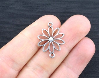 6 Flower Connector Charms Antique Silver Tone Daisy Connector - SC2495