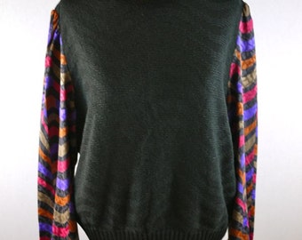 Black Sweater with Colorful Silk Nylon Sleeve