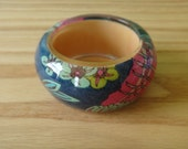 Vintage Funky Colorful Bangle with Floral Fabric Design Blue Pink Green
