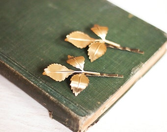 Branch Bobby Pins Nature Hair Accessories Gold Leaf Hair Clips Fall Autumn Raw Brass Woodland Wedding Golden Leaves Hair Grips