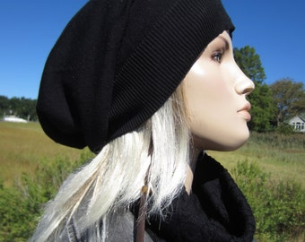 Womens Black Tams Hats Big Head Slouchy Beanies A1385