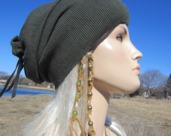 HATS, Slouch Beanie Tam Olive Tie Back Green Heather Cotton Knit A1123