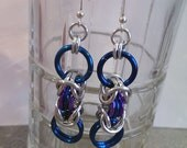 Purple and Blue Dangling Circles Chainmaille Earrings