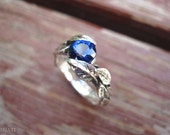 Leaf Engagement Ring, Sapphire Engagement Ring, White Gold Leaf Ring, Sapphire Leaf Ring, Leaves Ring, Forest Ring, Sapphire Leaves Ring
