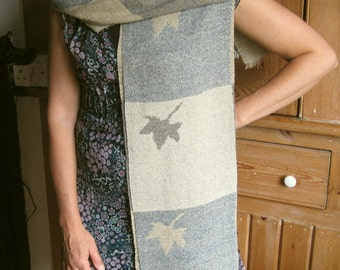 Handwoven silk scarf, proceeds to charity, Autumn leaves, handwoven, doublecloth, raw silk, silk noil, weaving, woven