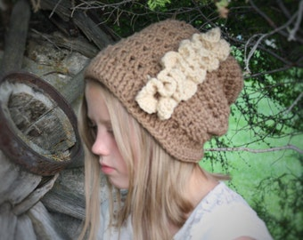 Girl's Slouchy Boho Hat - Ruffled Slouchy Hat - Child to Adult Size Slouchy Hat - Girl's Crochet Hat - Teen to Adult Hat - by JoJosBootique