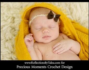 Newborn Bow Tie Back Halo, Delicate Fabric Bow Open Halo, Newborn Headband, Vintage Inspired Headband, Newborn  PHOTO PROP
