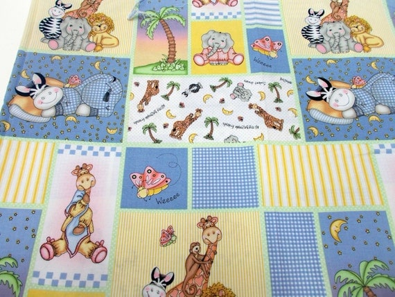 Nursery print fabric bazooples by vicki schreiner 1 yd for Nursery print fabric