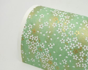 Paper Swatch GRN1 - White Blossoms on Mint - Chiyogami Paper