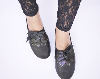 Black Shimmery Scalloped Oxfords Handmade Shoes