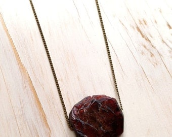 Raw Garnet  Brass Chain Necklace Raw Gemstone Jewelry Semi Raw Garnet Necklace