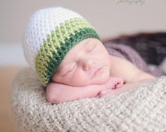 Crochet Baby Boy Beanie Newborn to 5T Hat - White/Pistachio/Dark Sage - MADE TO Order